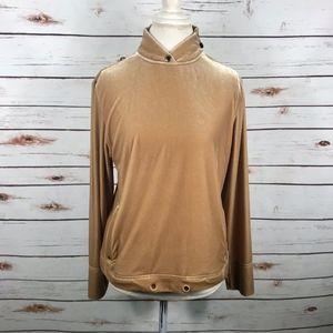 Jamie Sadock Gold Velour Pullover Top Shoulder Zip
